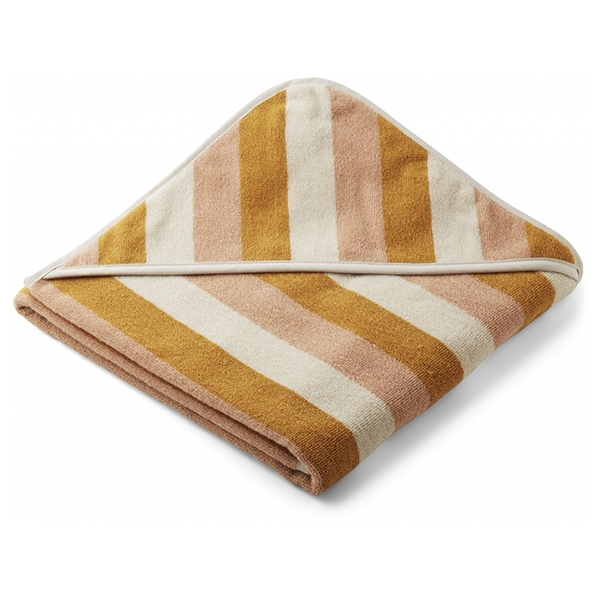 Liewood Babyhåndklæde Stripe – Peach/Sandy/Yellow