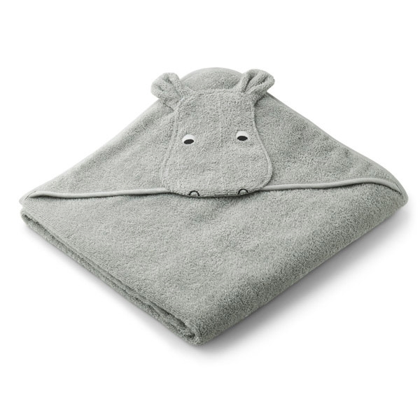 Liewood Babyhåndklæde Hippo – Dove Blue