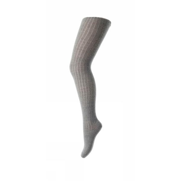 Mp rib strømpebukser i uld - lys grå