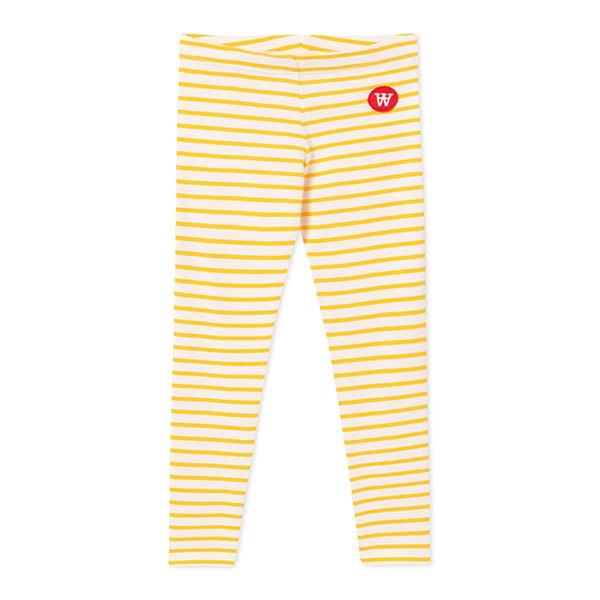 Wood Wood Stribede Leggings Offwhite/Yellow - Økologisk børnetøj - Wood Wood