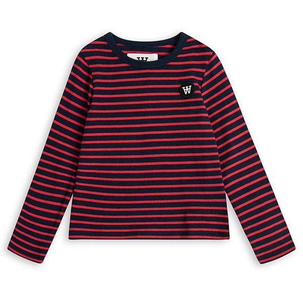 Wood Wood Stribet Bluse Navy/Rød - Økologisk børnetøj - Wood Wood