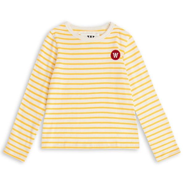 Wood Wood Stribet Bluse Offwhite/Yellow - Økologisk børnetøj - Wood Wood
