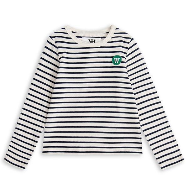 Wood Wood Stribet Bluse Offwhite/Navy - Økologisk børnetøj - Wood Wood