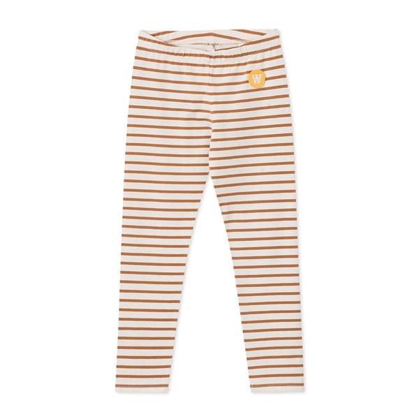 Wood Wood Stribede Leggings Offwhite/Camel - Økologisk børnetøj - Wood Wood