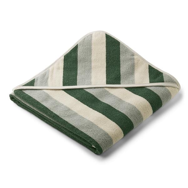 Liewood Babyhåndklæde Stripe – Green/Sandy/Dove Blue
