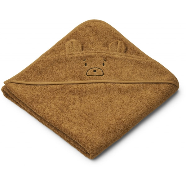 Liewood Babyhåndklæde Mr Bear – Golden Caramel