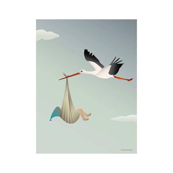 ViSSEVASSE Kort m. Kuvert - Blå Stork