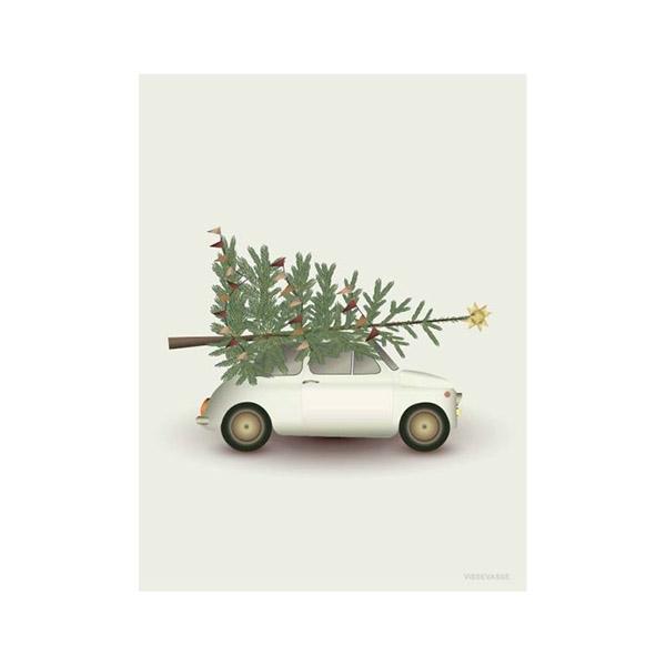 ViSSEVASSE Julekort m. Kuvert - Christmas Tree & Litte Car