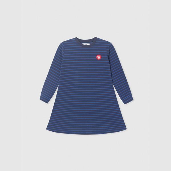 Wood Wood Aya Kjole Navy/Blue Stripes - Økologisk børnetøj - Wood Wood
