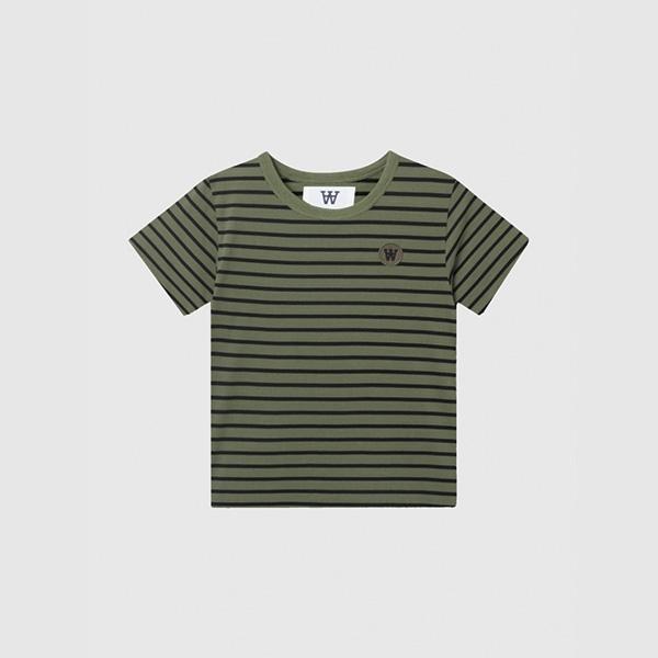 Wood Wood Double A T-shirt Army/Black Stripes - Økologisk børnetøj - Wood Wood